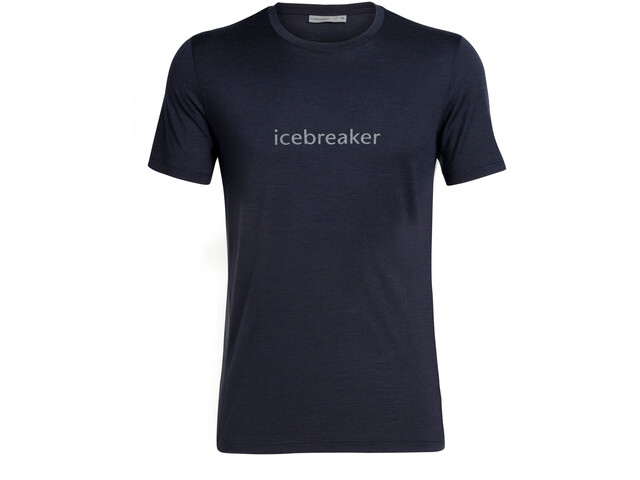 Icebreaker Tech Lite Wordmark Top Manga Corta Hombre, midnight navy